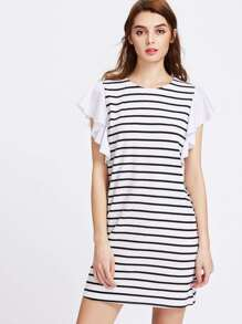 Ruffle Cap Sleeve Striped Tee Dress