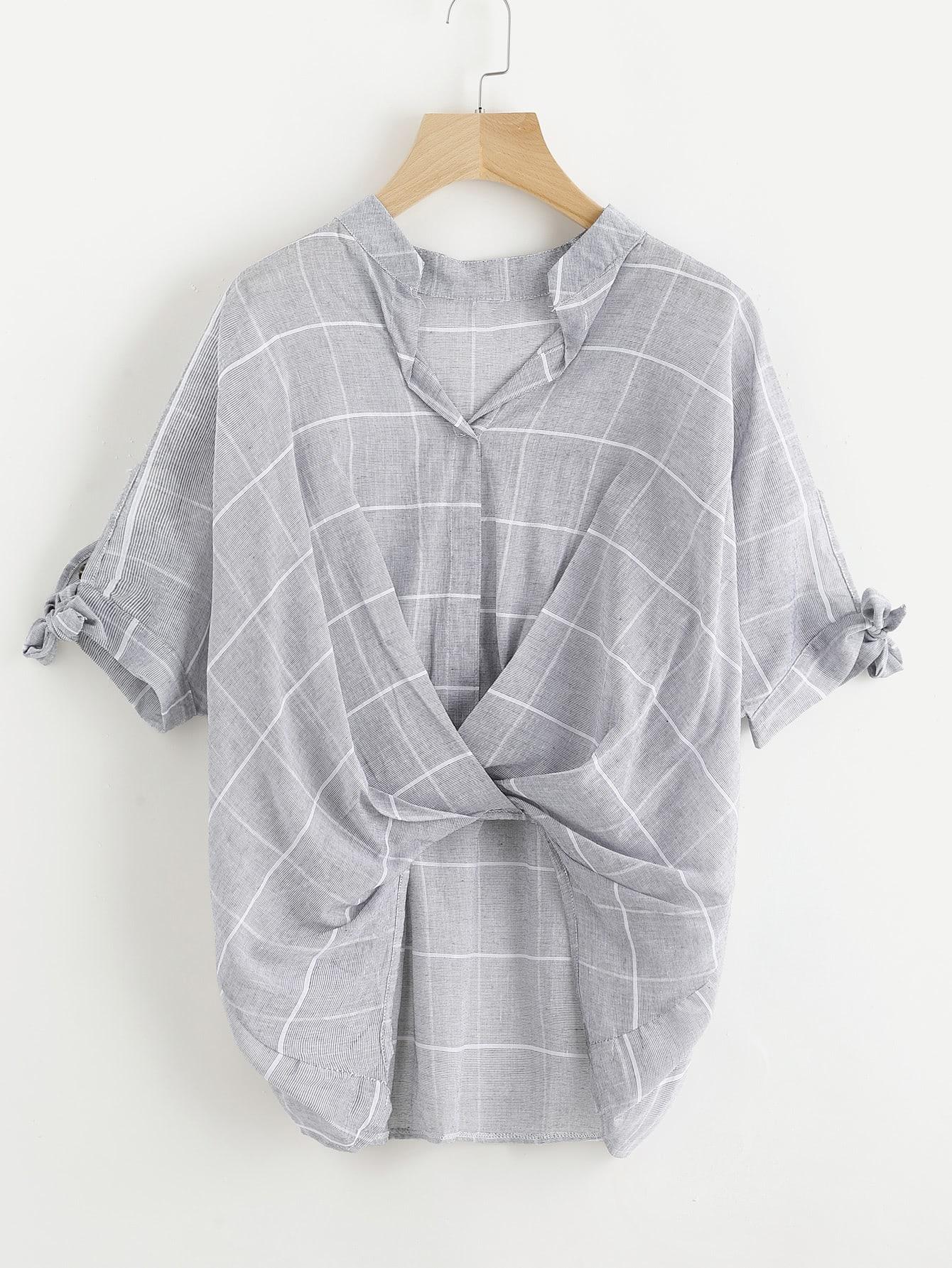 Window Pane Plaid Tie Sleeve Drape Front Blouse