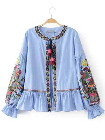 Drop Shoulder Tassel Tie Ruffle Hem Blouse