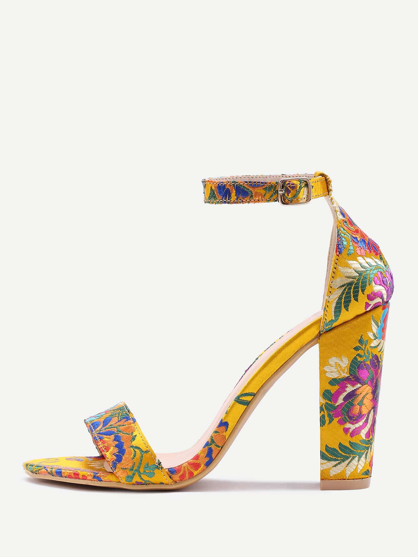 Image of Two Part Jacquard Chunky Heeled Sandals