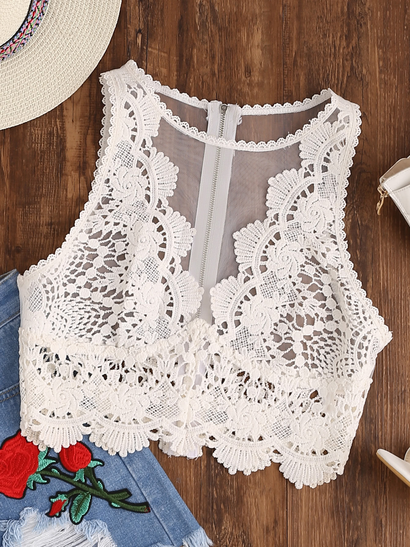 все цены на Scallop Lace Applique Exposed Zip Tulle Tank Top