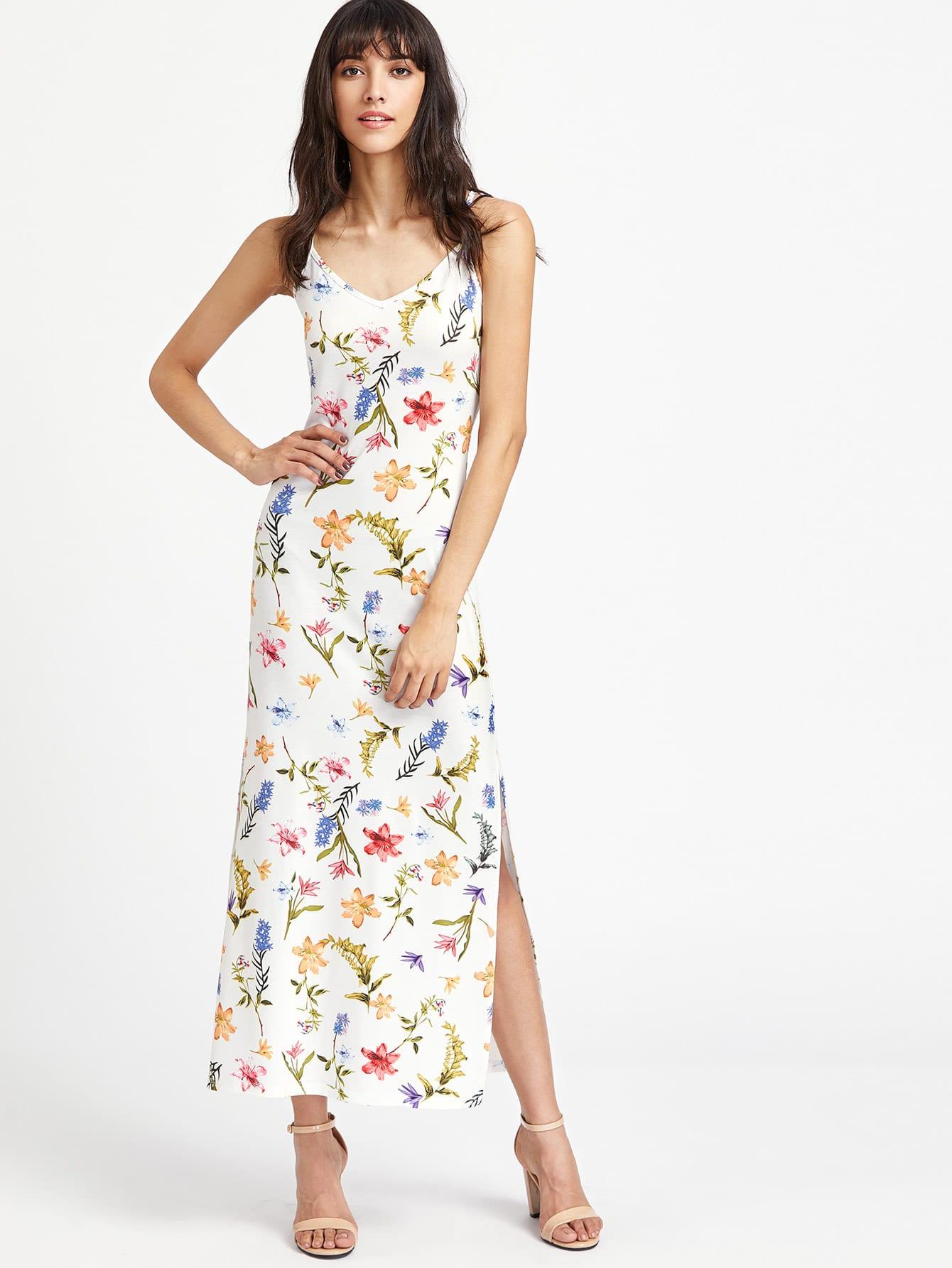 Lace Up Deep V Back High Slit Botanical Cami Dress dress170410706
