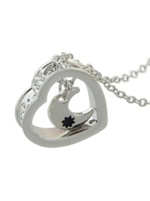 Silver Color Moon Heart Shape Necklace