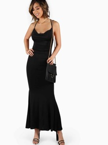 Backless Low Cowl Maxi Dress BLACK