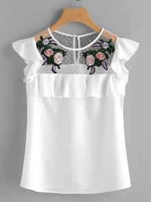 Модный топ со сборкой и цветочной вышивкой