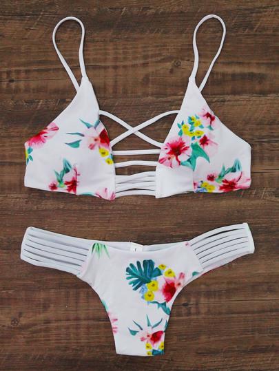 Blumendruck-Ladder Ausschnitt Bikini Set