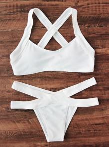 Cross Back Side Cutout Bikini Set