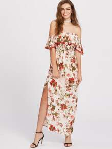 Flower Print Lace Trim Flounce Bardot Dress