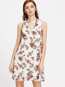 Floral V Cut Back A-Line Dress
