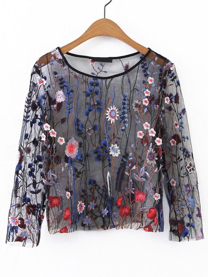 Фото Embroidery Sheer Mesh Top. Купить с доставкой
