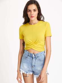 Twist Front Crop Form Fitting Tee