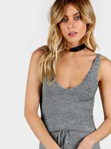 Crop Sweater Knit Tank HEATHER GRAY