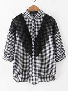 Contrast Lace Checkerboard High Low Blouse