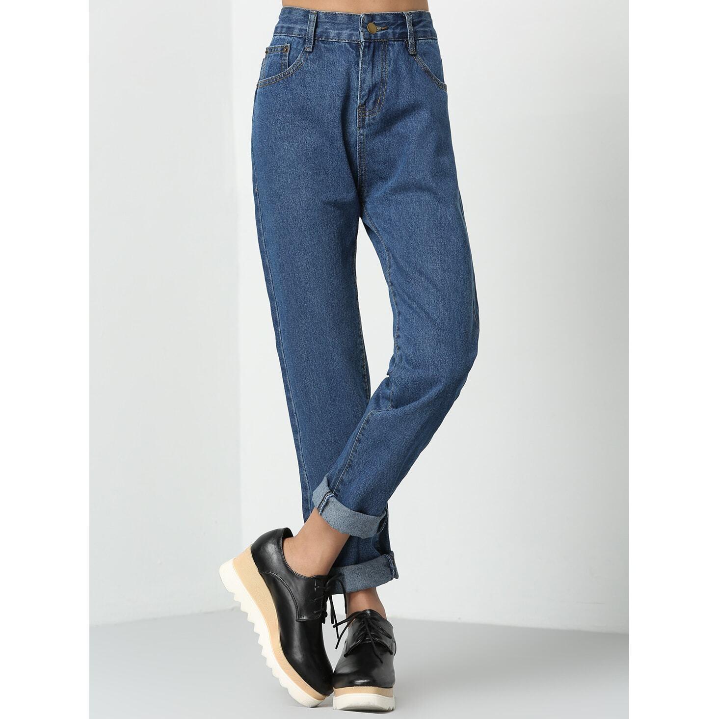 Boyfriend jeans met opgerolde zomen