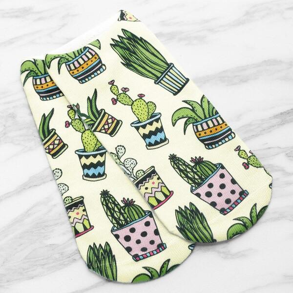Cactus Print Invisible Socks, Green