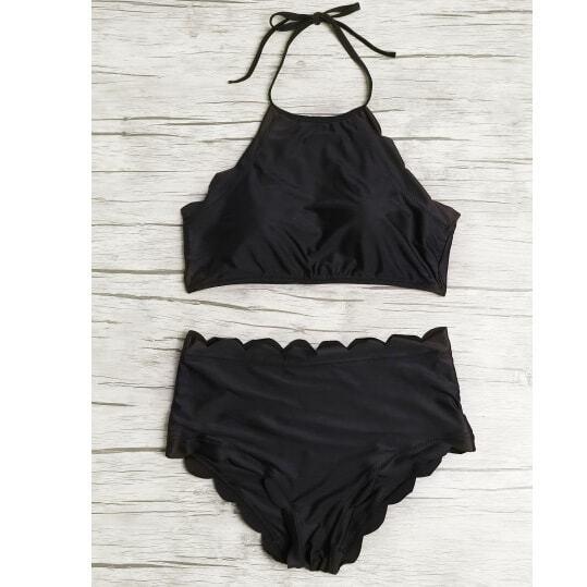 Scalloped Trim Halter High Waist Bikini Set