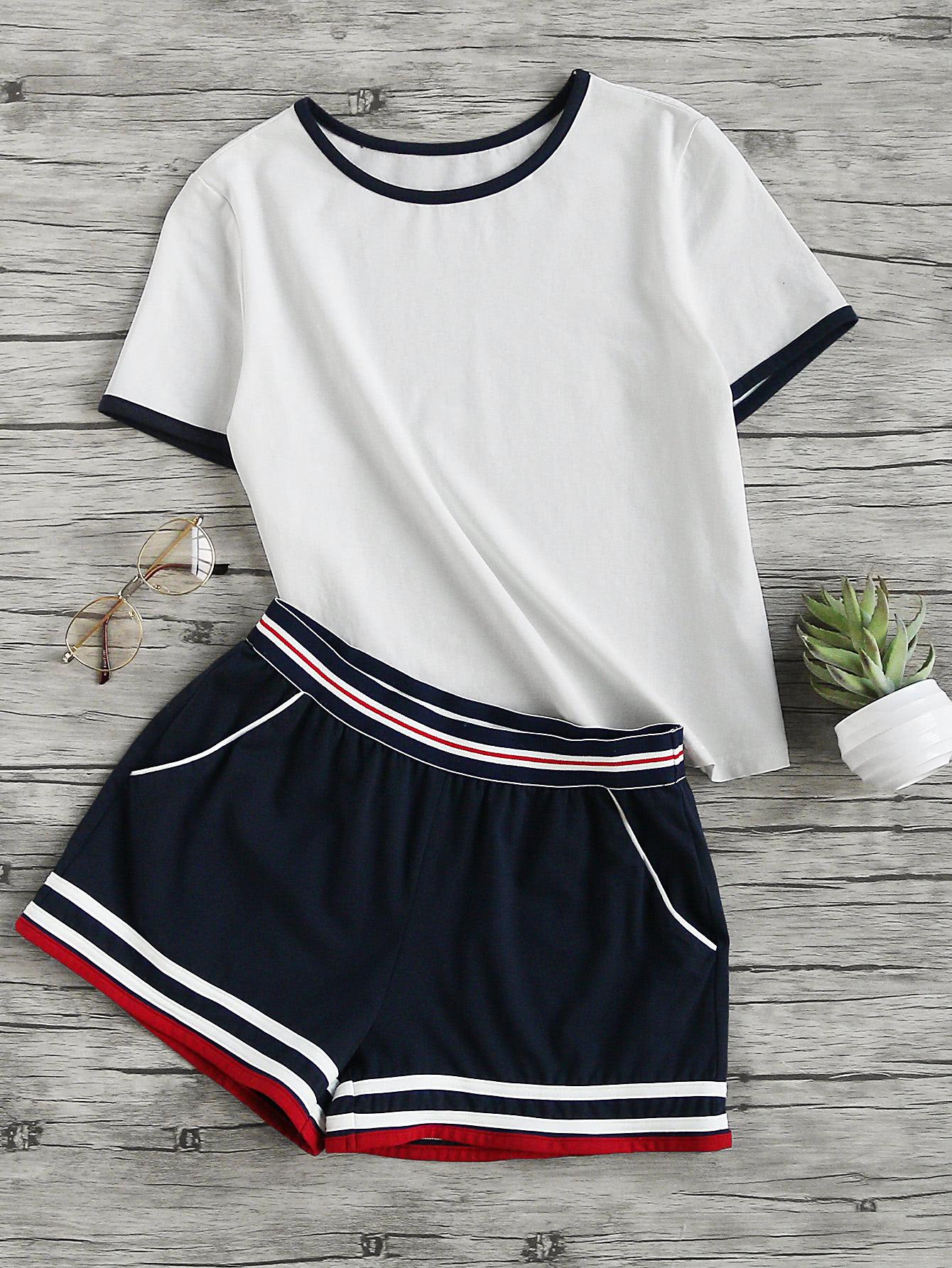 Ringer Tee And Striped Waist Binding Shorts Set men elastic waist ringer shorts