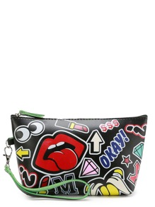 Cartoon Print Makeup Bag With Zipper
