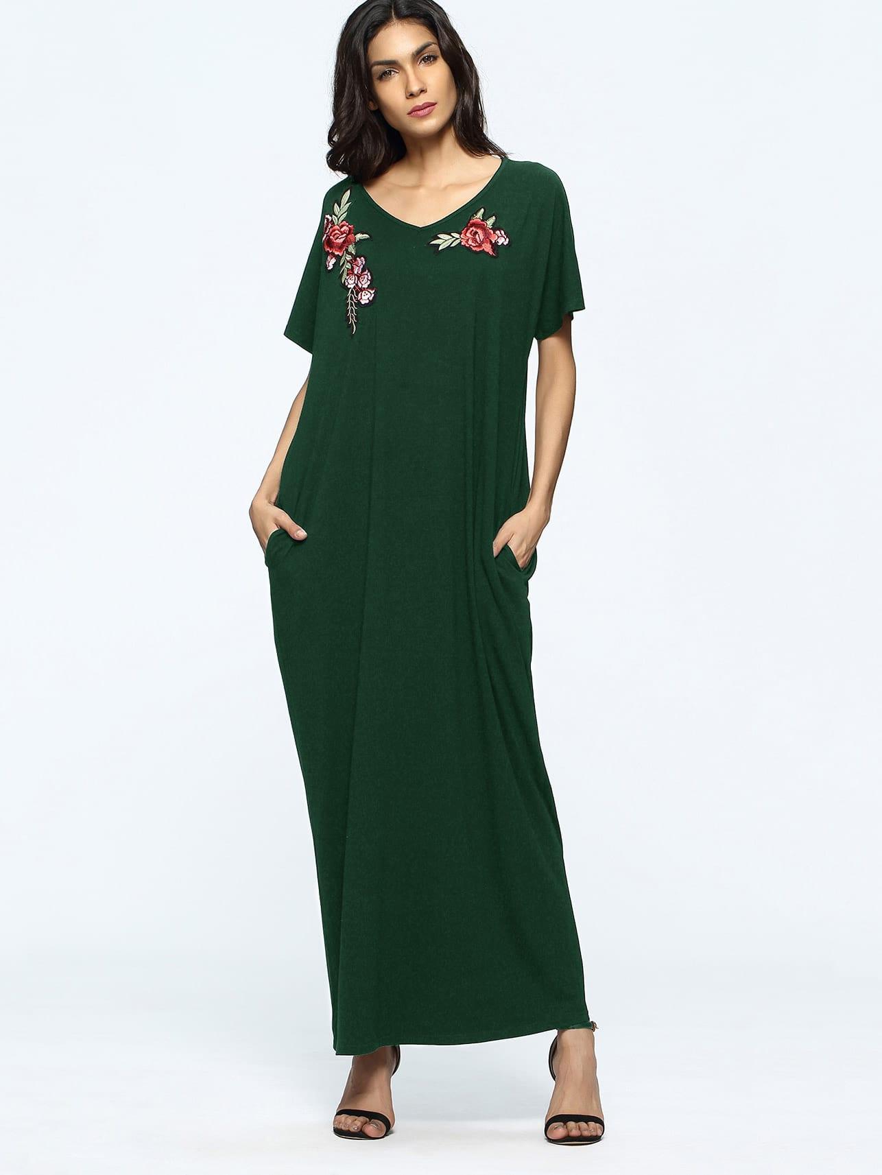 Фото Rose Appliques Pockets Full Length Dress. Купить с доставкой
