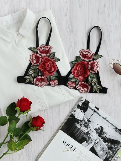Rose Applique Fishnet Bralet