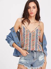 Camisola con cuello en V de rayas con estampado floral con tiras