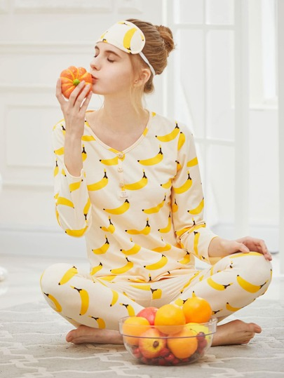 Banana Print Button Front Long Pajama Set With Eye Mask