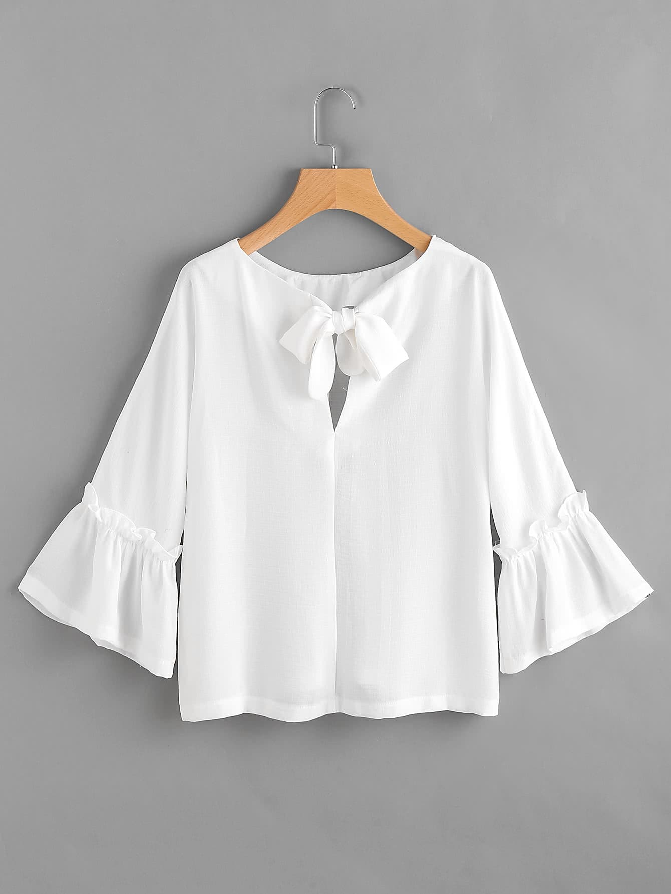 цены Bow Tie Back Frill Bell Sleeve Top