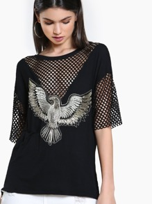Metallic Stitched Eagle Fishnet Top BLACK