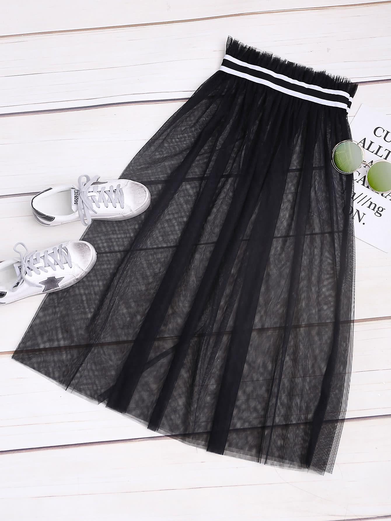 Купить Модная сетчатая юбка, null, SheIn