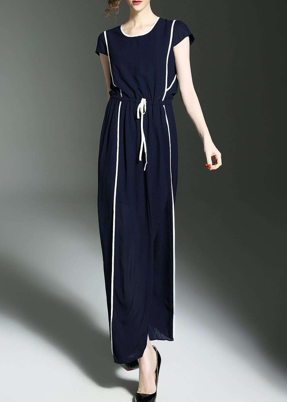 Фото Color Block Drawstring Maxi Dress. Купить с доставкой