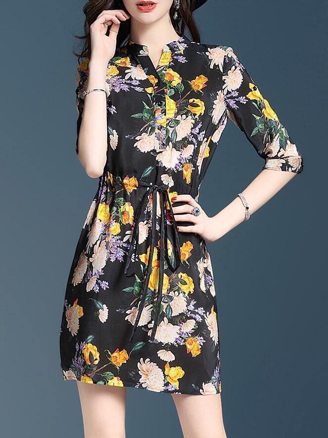Фото V Neck Flowers Print Drawstring Dress. Купить с доставкой