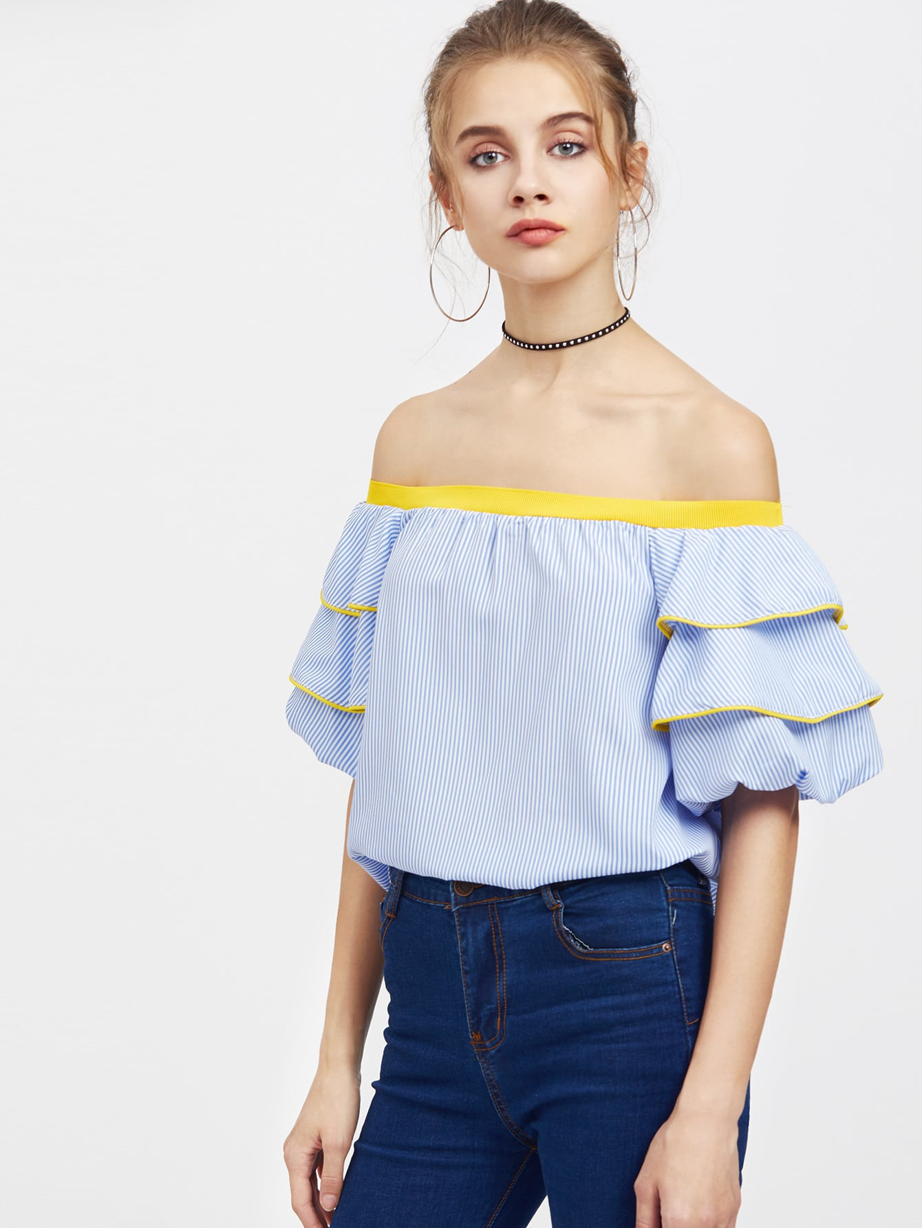 Фото Bardot Vertical Pinstripe Contrast Trim Tiered Cuff Top. Купить с доставкой