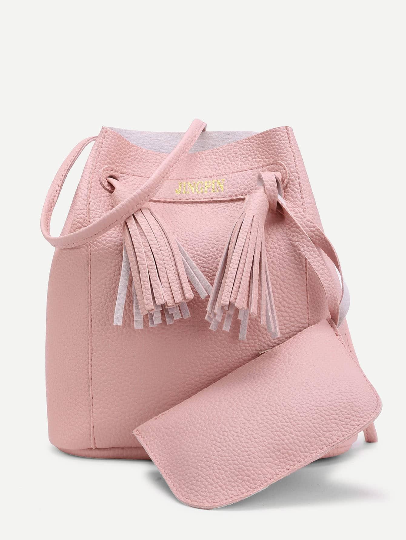 Купить со скидкой Tassel Detail Shoulder Bag With Pouch