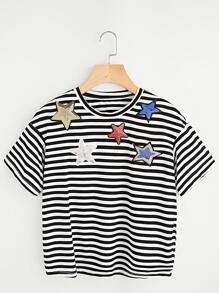 T-Shirt mit Streifen und Sternmuster