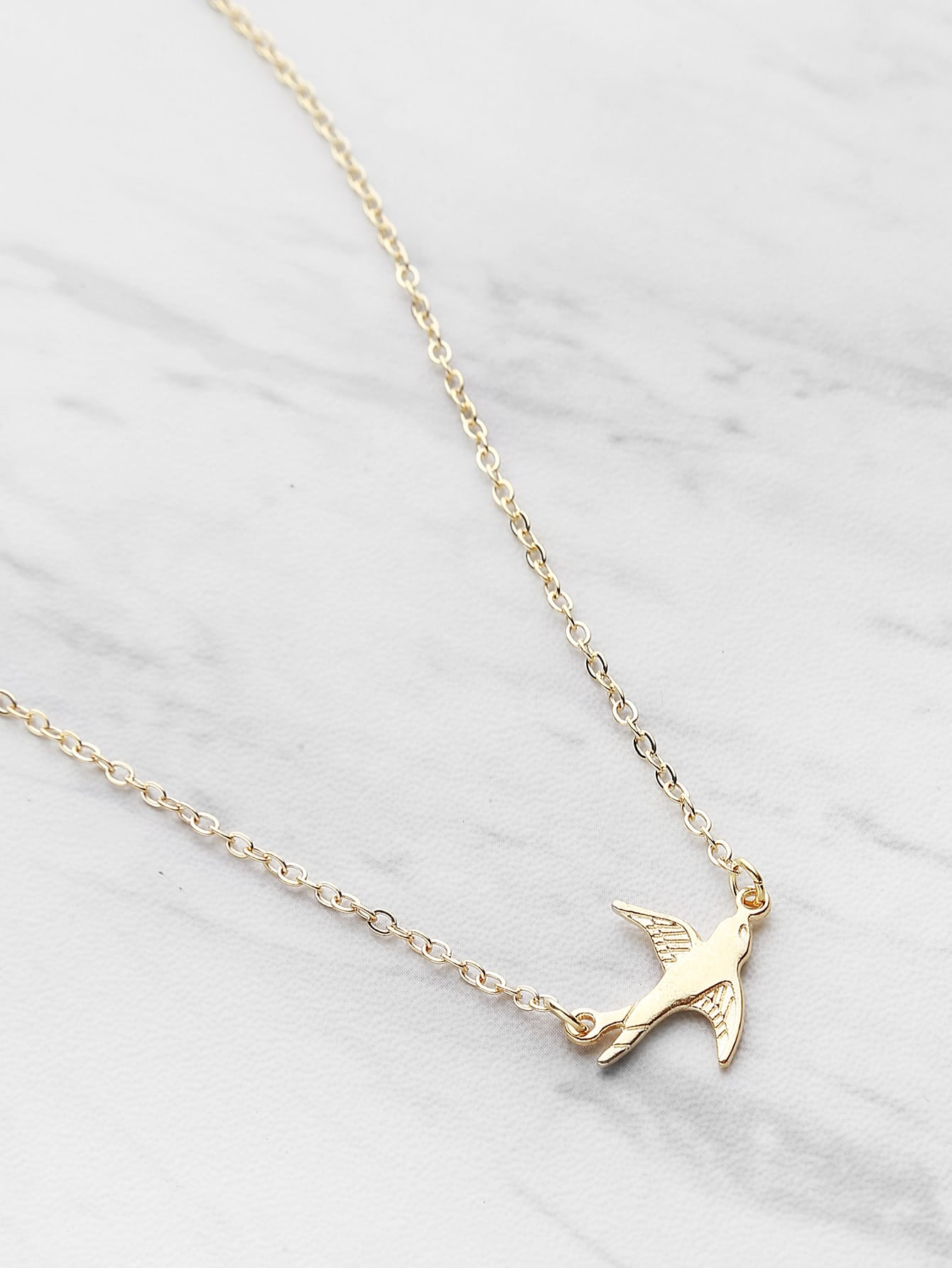 Фото Bird Shaped Pendant Chain Necklace. Купить с доставкой