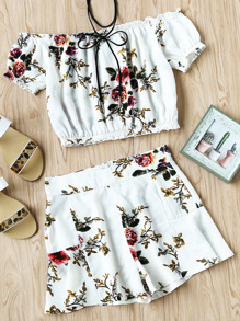 Bardot Floral Print Random Elastic Hem Top And Shorts Set