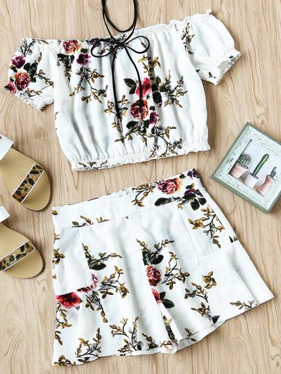 Bardot Floral Print Random Elastic Hem Top And Shorts Set