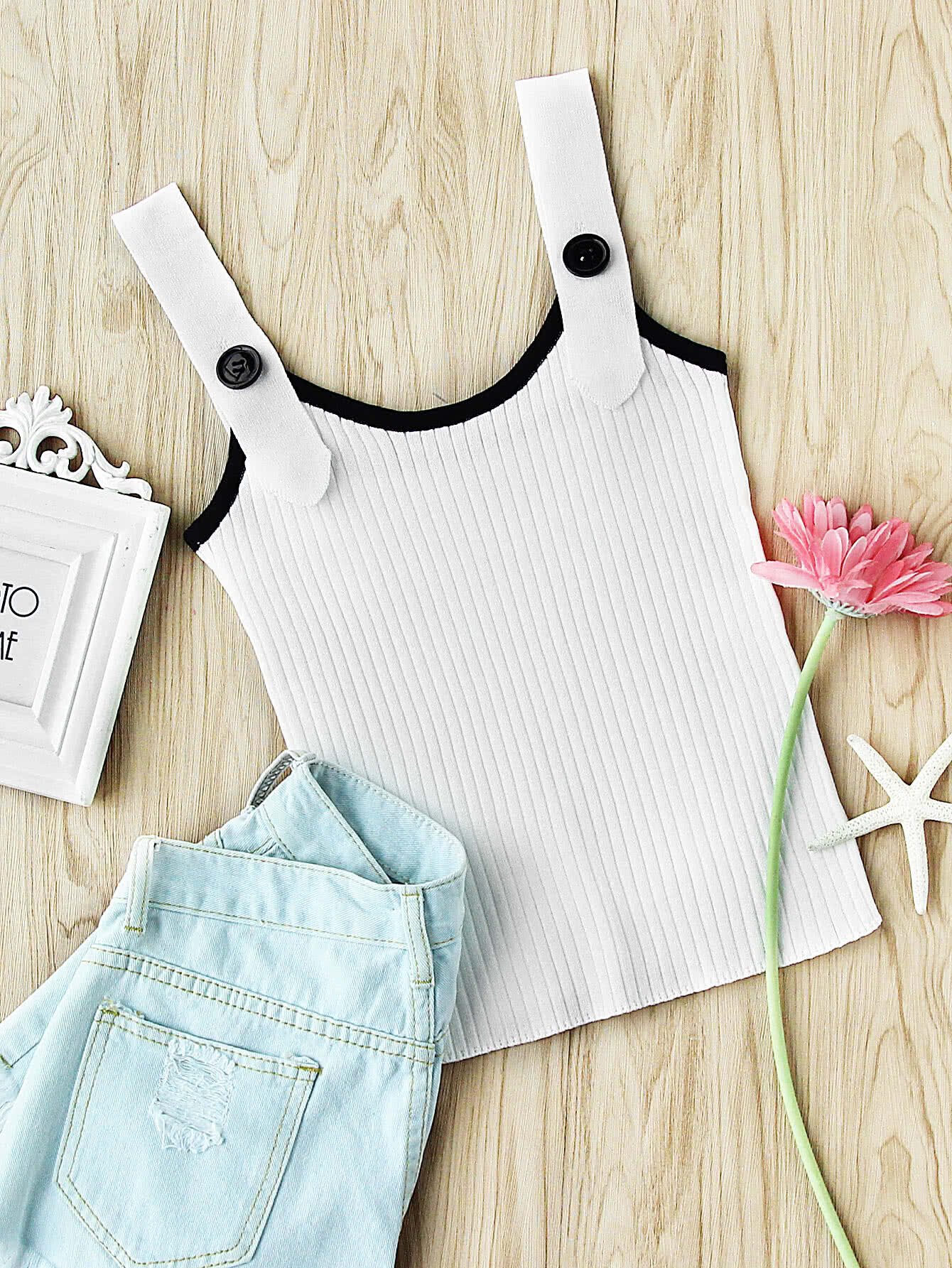 Contrast Trim Ribbed Button Cami Top vest170523103
