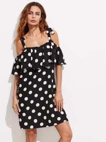 Self Tie Cold Shoulder Flounce Polka Dot Dress