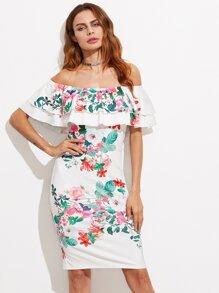 Layered Ruffle Blooming Bardot Dress