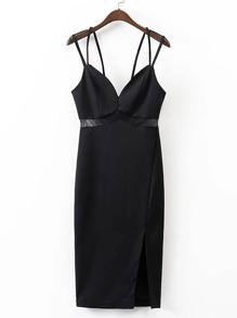 Contrast Mesh Split Side Strappy Dress