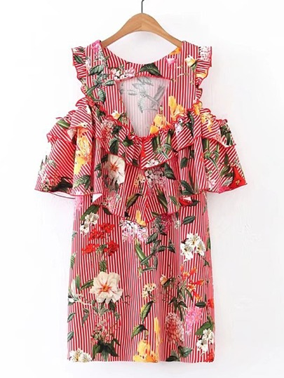 Vertical Striped Frill Trim Tiered Dress
