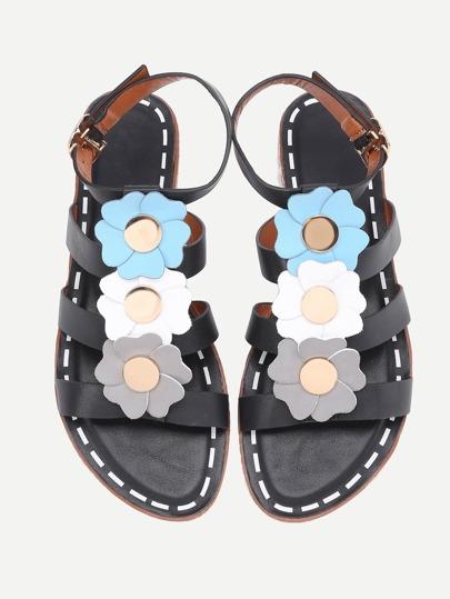 Flower Embellished Open Toe Falt Sandals