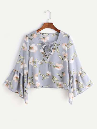 Flower Print Lace Up Fluted Sleeve Blouse
