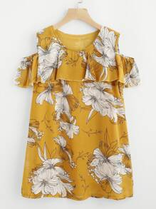 Flounce Layered Open Shoulder Florals Dress