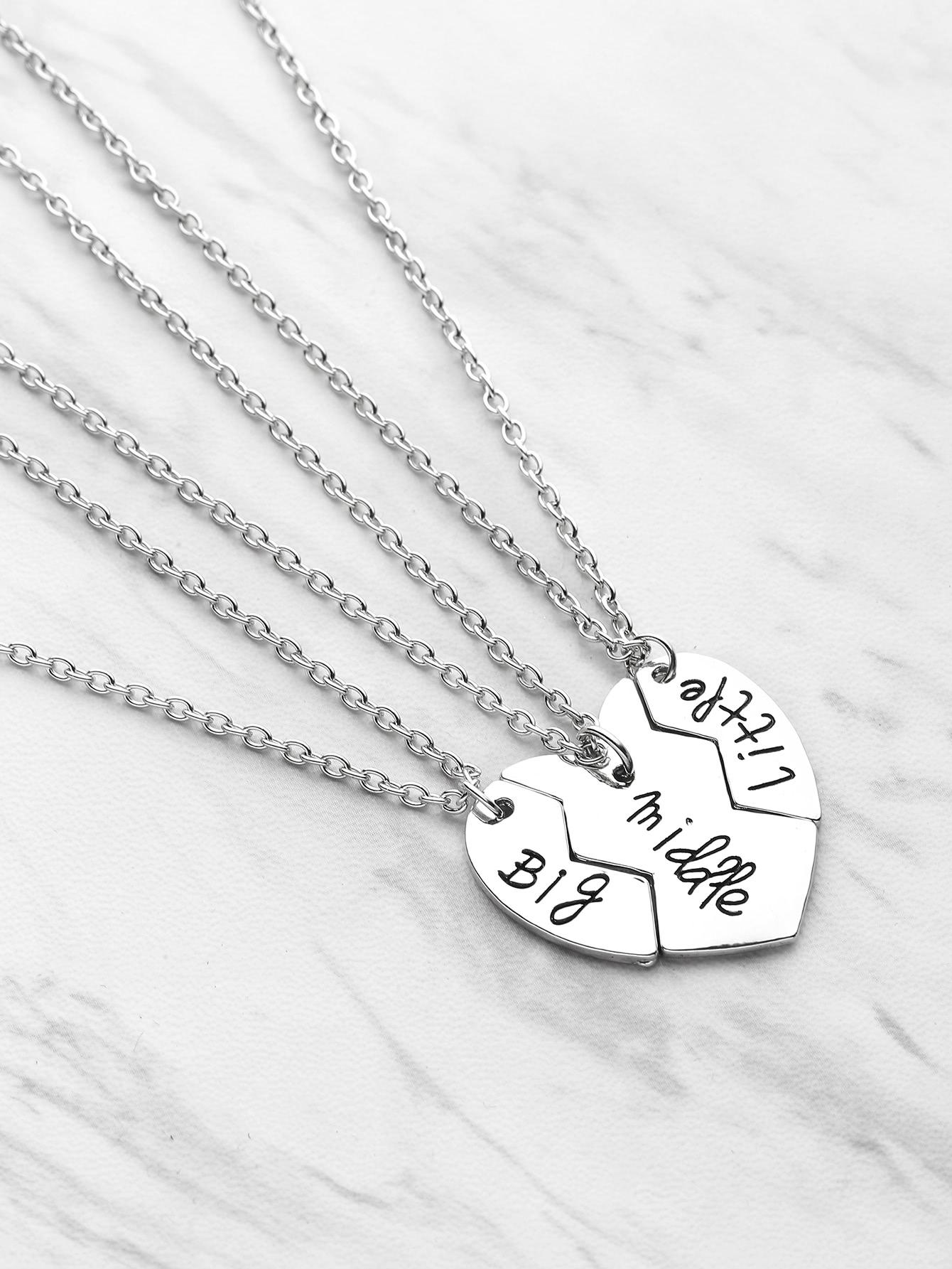 Heart Pendant Friendship Necklace 3pcs hollow heart pendant necklace set 3pcs
