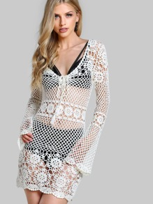 Long Sleeve Crochet Boho Dress OFF WHITE