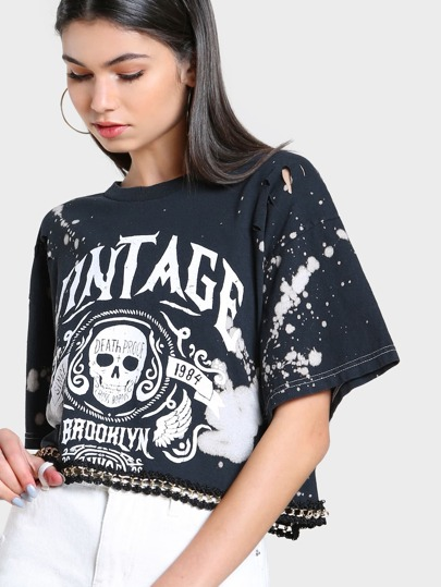 Vintage Brooklyn Acid Wash Crop Top BLACK