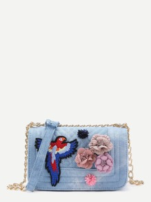 Flower & Butterfly Quilted Detail PU Crossbody Bag
