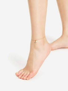 Star & Faux Pearl Anklet